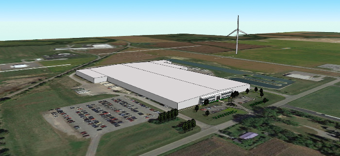 This is a rendering of what the turbine will look like at the Ottawa plant once completed, but the actual location of the turbine could change.