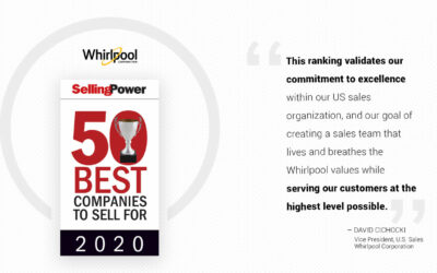 "Whirlpool Corporation Once Again Achieves High Ranking on Selling Power's Annual ""50 Best Companies to Sell For"" List in 2020"