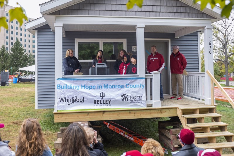 Habitat for Humanity house build on the Indiana University campus