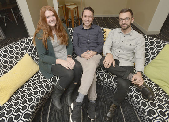 From left, Megan Clayton, Christopher Gregory and Nathan Bilancio are part of Whirlpool Creatives, which was created four years ago in an effort to bring together the community's creative talent.